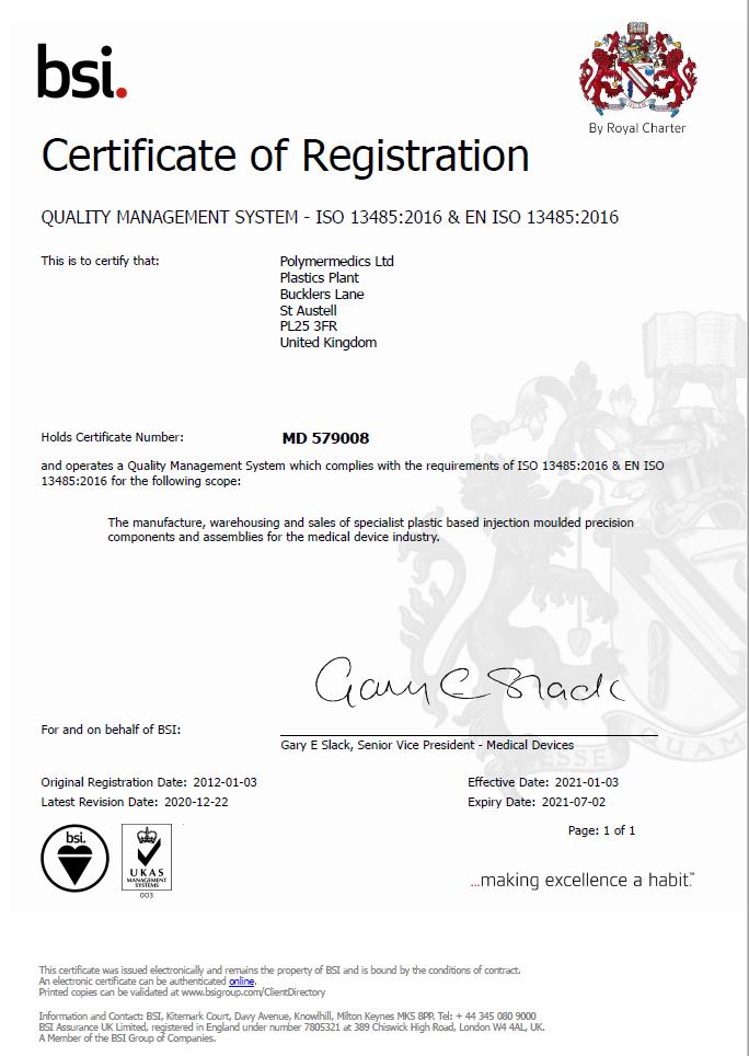 ISO 13485:2016, Quality Standards - Polymermedics
