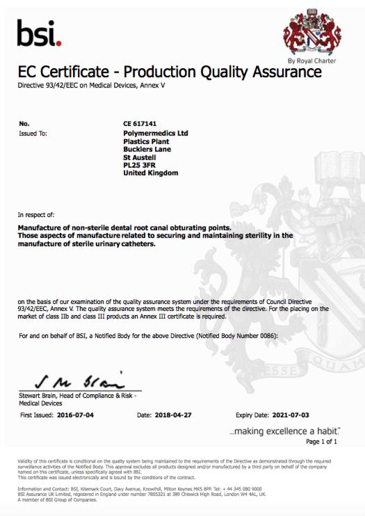 DIRECTIVE 93/42/EEC, Quality Standards - Polymermedics